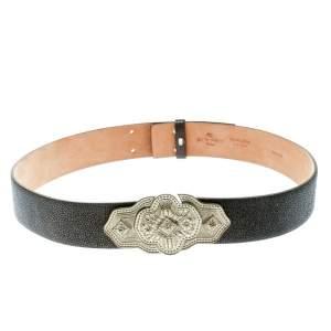 Etro Grey Stingray Leather Buckle Detail Belt Size 90 CM