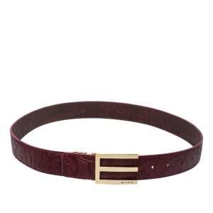 Etro Burgundy Leather Buckle Detail Belt 105 CM