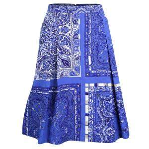 Etro Blue Paisley Printed Cotton Box Pleated Skirt M