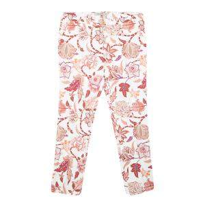 Etro Off White Floral Printed Stretch Cotton Trousers L