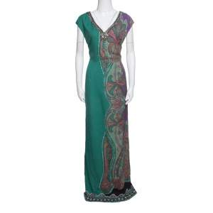 Etro Green Paisley Printed Embellished Maxi Dress M