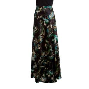 Etro Brown Floral Printed Silk Wool Blend Maxi Skirt S