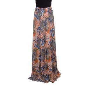 Etro Printed Multicolor Printed Knit Draped Maxi Skirt L