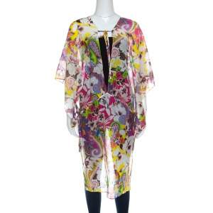 Etro Multicolor Floral Printed Cotton Silk Kaftan Tunic L