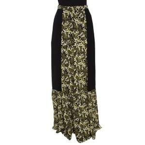 Etro Black and Yellow Floral Printed Silk Maxi Skirt S