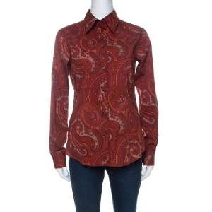 Etro Burnt Orange Paisley Print Cotton Fitted Button Down Shirt M