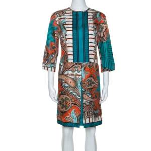 Etro Teal & Orange Paisley Printed Silk Shift Dress M