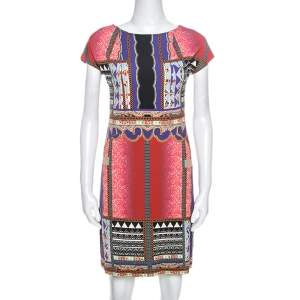 Etro Multicolor Printed Knit Cap Sleeve Sheath Dress M