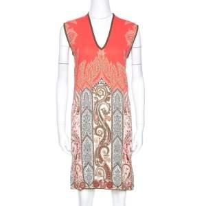 Etro Multicolor Paisley Print Stretch Crepe Shift Dress S