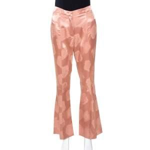 Etro Peach Jacquard Silk Satin Flared Pants S