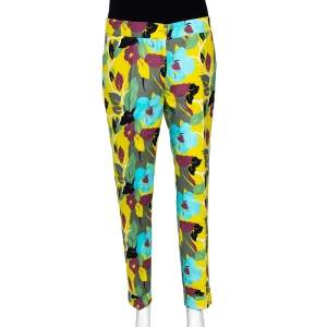 Etro Multicolor Floral Print Cotton Tapered Trousers M