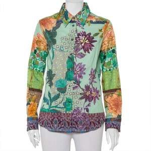 Etro Green Printed Cotton Button Front Shirt L