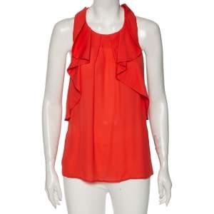 Etro Coral Orange Silk Round Neck Sleeveless Top L