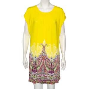 Etro Yellow/Paisley Printed Jersey Gathered Yoke Detailed Dress M/L