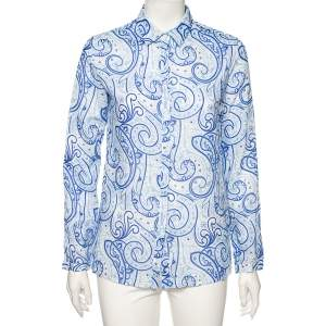 Etro Blue Paisley Printed Ramie Button Front Shirt S
