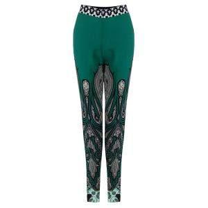 Etro Green Printed Silk Wide Leg Trousers S