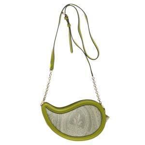 حقيبة كروس إيترو جلد نقش ثعبان وكانفاس مقوى طباعة بيزلي خضراء