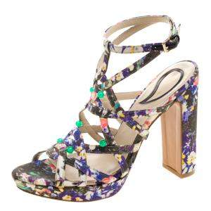 Etro Floral Printed Fabric Block Heel Strappy Sandals Size 40