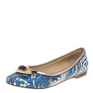 Etro Blue Paisley Printed Coated Canvas Embellished Ballet Flats Size 36