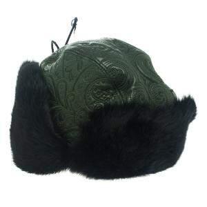 Etro Dark Green Leather and Rabbit Fur Aviator Hat M