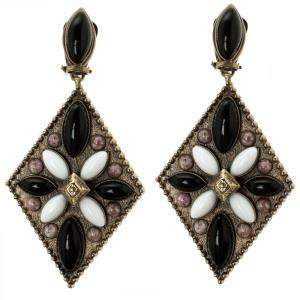Etro Tibetan Multicolor Cabochon Gold Tone Rhombus Clip-on Dangle Earrings