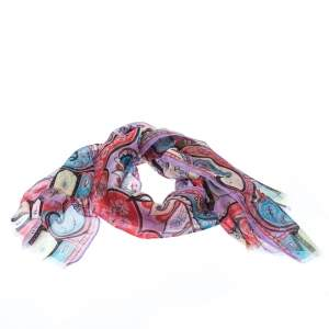 Etro Multicolor Paisley Print Silk Fringed Scarf