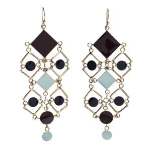 Etro Geometric Element Multicolor Enamel Gold Tone Dangle Hook Earrings