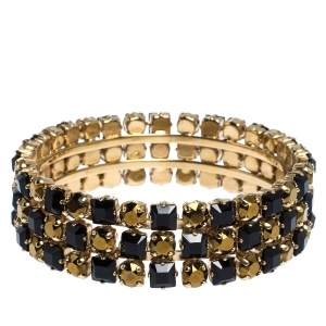 Etro Bi-color Crystal Gold Tone Wide Bangle Bracelet
