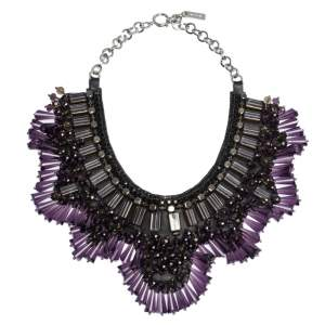 Etro Multicolor Crystal Studded Two Tone Statement Collar Necklace