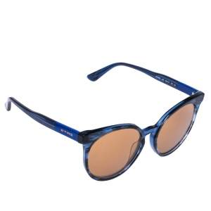 Etro Blue Havana/ Gold Mirrored ET660S Round Sunglasses
