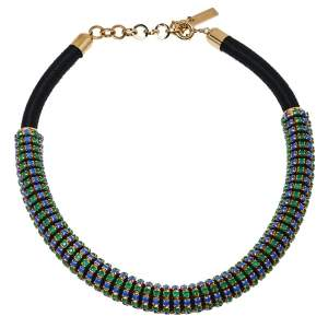 Etro Green & Blue Crystal Studded Choker Necklace