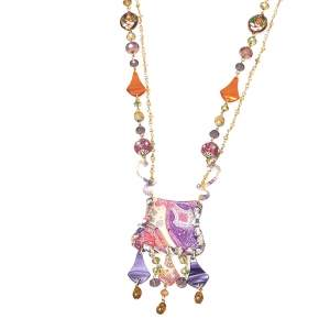 Etro Multicolor Beaded Paisley Print Pendant Necklace
