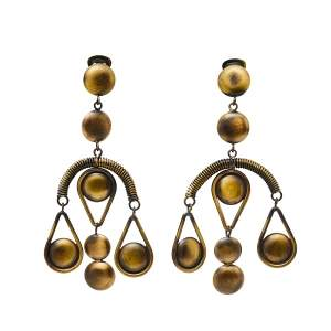 Etro Aged Gold Tone Dangle Clip On Earrings