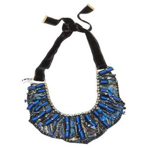 Etro Blue Silk Brocade Crystal and Bead Statement Necklace