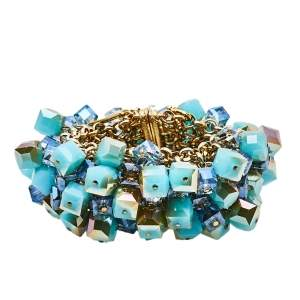 Etro Blue Glass Cube Studded Gold Tone Wide Bracelet