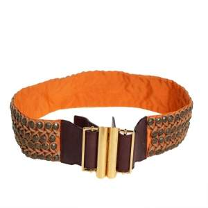 Etro Orange/Brown Leather and Fabric Studded Waist Belt 75CM