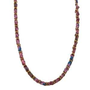 Etro Purple Silk Woven Gold Tone Long Necklace