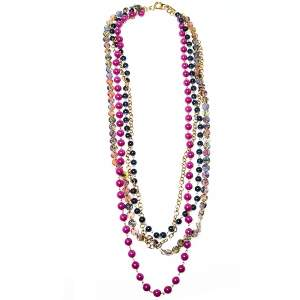 Etro Purple & Blue Beaded Multi Layered Chain Necklace