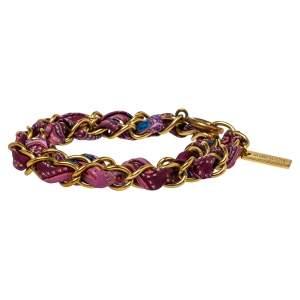 Etro Purple Silk Woven Gold Tone Double Tour Bracelet