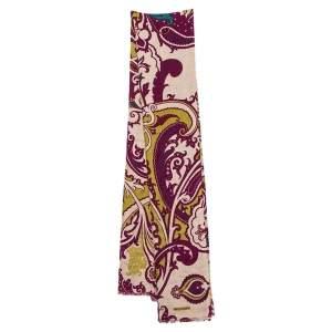 Etro Purple Paisley Printed Cashmere & Silk Stole