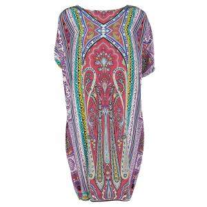 Etro Multicolor Printed Silk Slit Sleeve Detail Shift Dress L