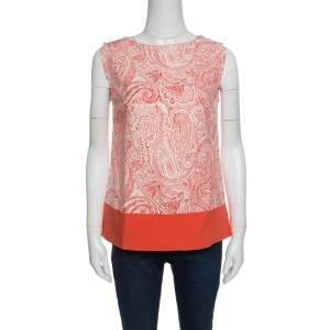 Etro Orange and White Paisley Print Sleeveless Top S
