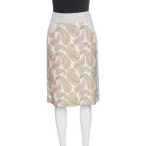 Etro Beige Linen Silk Paisley Printed Skirt M