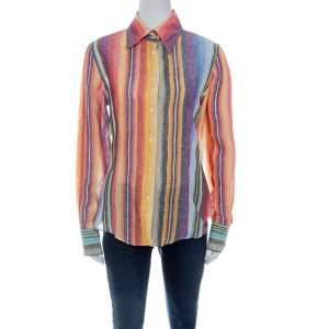 Etro Multicolor Striped Linen Blend Long Sleeve Button Front Shirt L