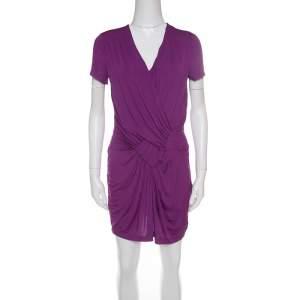 Etro Purple Draped Knit Short Sleeve Tunic L