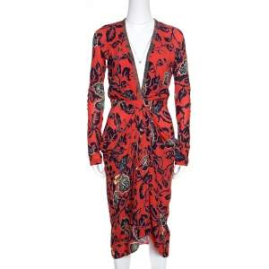 Etro Red Floral Print Embellished Plunge Neck Detail Draped Midi Dress S