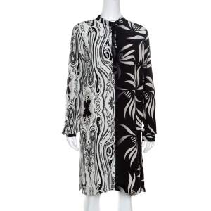 Etro Monochrome Paisley and Leaf Printed Silk Crepe de Chine Dress M