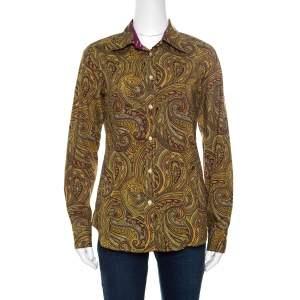 Etro Yellow Paisley Printed Cotton Contrast Trim Detail Long Sleeve Blouse M