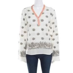 Etro Cream Floral Lurex Jacquard Contrast Neck Detail Long Sleeve Blouse M