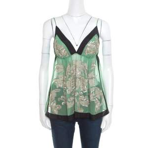 Etro Green Sheer Silk Sequined Floral Applique Detail Babydoll Top L